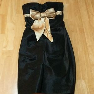 Black and gold bow Homecoming dress